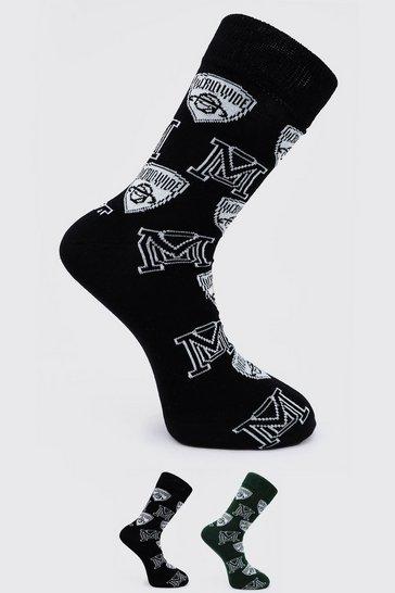 Multi 2 Pack Varsity Jacquard Socks