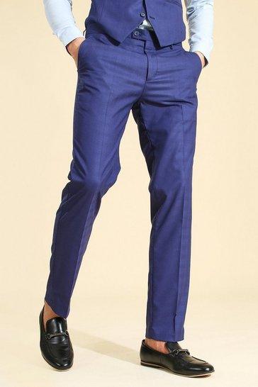 Blue Slim Check Suit Trouser