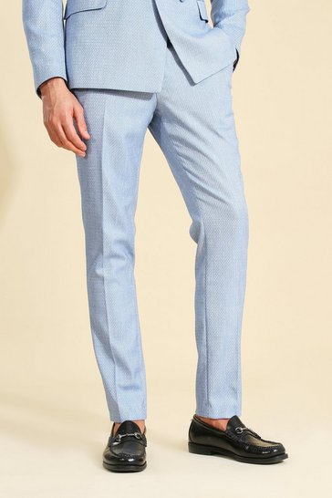 Blue Textured Skinny Suit Trouser