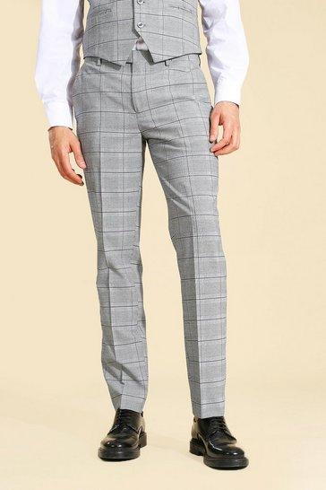 Slim Grey Check Suit Trouser