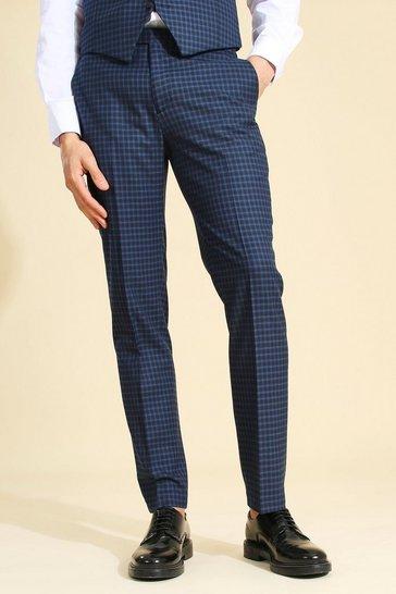 Navy Slim Check Suit Trouser