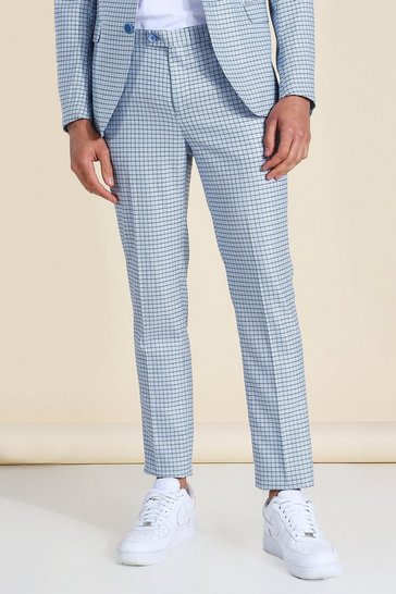 Blue Skinny Houndstooth Suit Trouser