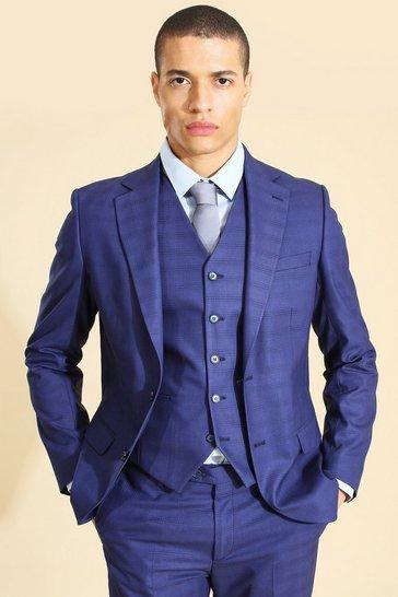 Blue Single Breasted Check Slim Jacket