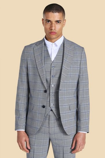Grey Single Breasted Slim Check Suit Jacket