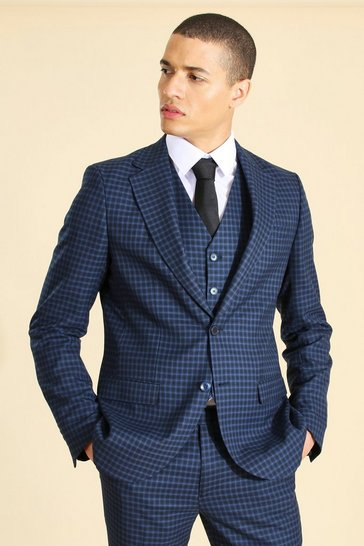 Navy Single Breasted Slim Suit Jacket