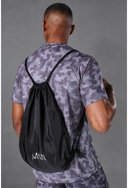Man Active Drawstring Bag, Black nero