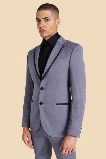 Grey Notch Lapel Contrast Piping Skinny Jacket