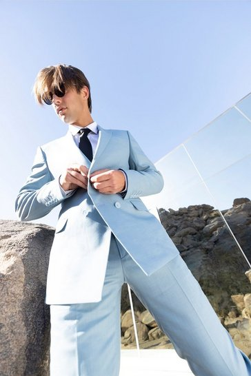 Blue Double Breasted Textured Skinny Suit Jacket