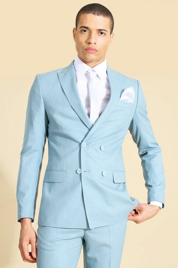 Mint green Double Breasted Skinny Crosshatch Suit Jacket