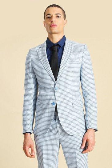 Blue Single Breasted Skinny Suit Jacket