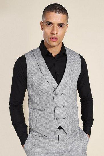 Grey Double Breasted Skinny Textured Waistcoat