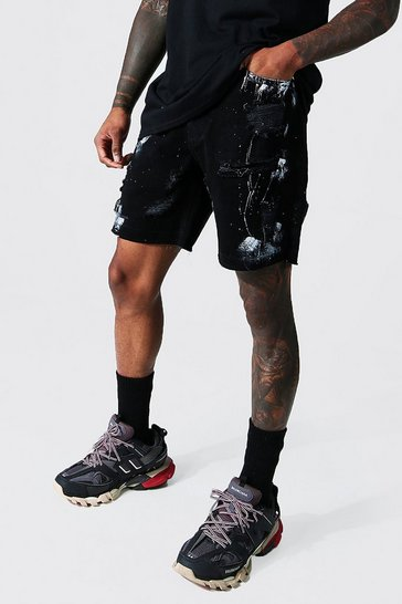 Black Relaxed Fit Paint Denim Short