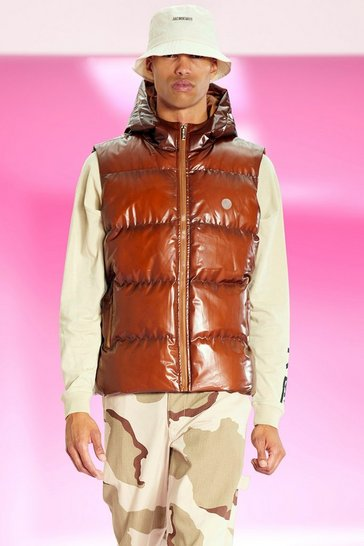 Chocolate brown Opaque Rubber Padded Gilet