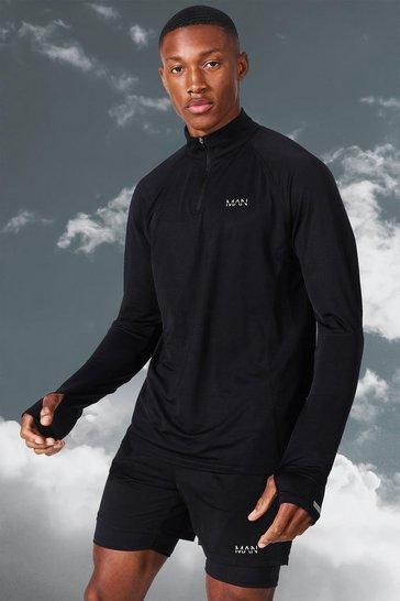 Black Man Active Lightweight Marl 1/4 Zip Top