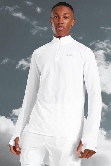 White Man Active Lightweight Marl 1/4 Zip Top