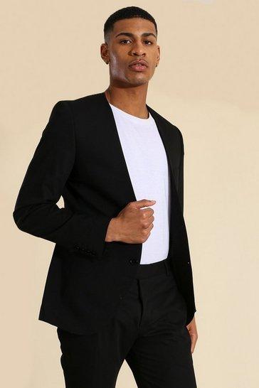 Black Skinny Collarless Suit Jacket