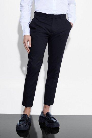 Black Skinny Crop Suit Trousers