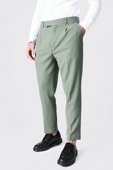 Sage green Tapered Crop Contrast Stitch Tailored Trouser