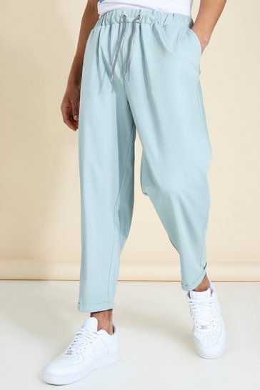 Blue Relaxed Elasticated Draw Cord Tailored Trouser