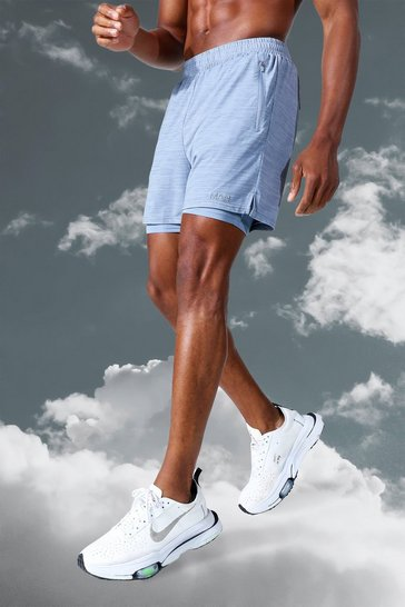 Grey Man Active Lightweight Marl 2 In 1 Short