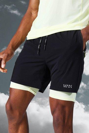Black Man Active Lightweight Contrast 2 In 1 Short