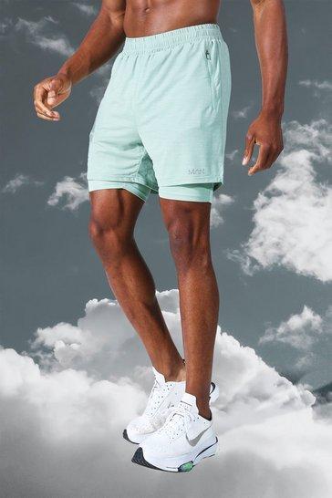 Mint green Man Active Lightweight Marl 2 In 1 Short