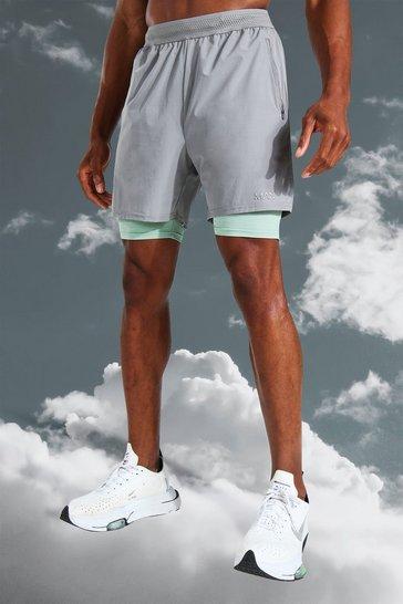 Grey Man Active Lightweight Contrast 2 In 1 Short