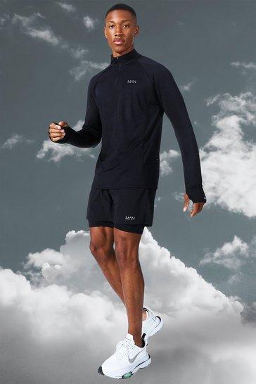 Black Man Active Lightweight 1/4 Zip Top Short Set