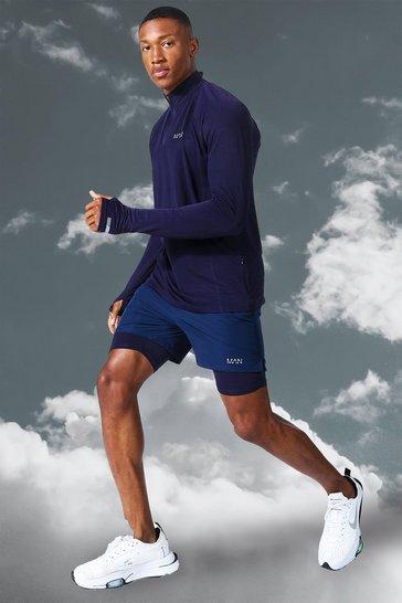 Navy Man Active Lightweight 1/4 Zip Top Short Set
