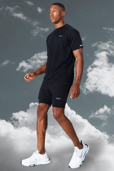 Black Man Active Lightweight Contrast Short Set