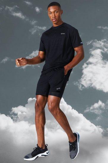 Black Man Active Lightweight Marl T Shirt Short Set