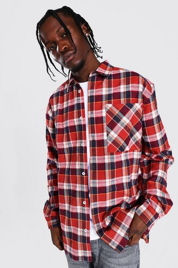 Red Oversized Check Shirt