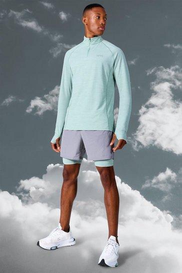 Mint green Man Active Lightweight 1/4 Zip Top Short Set