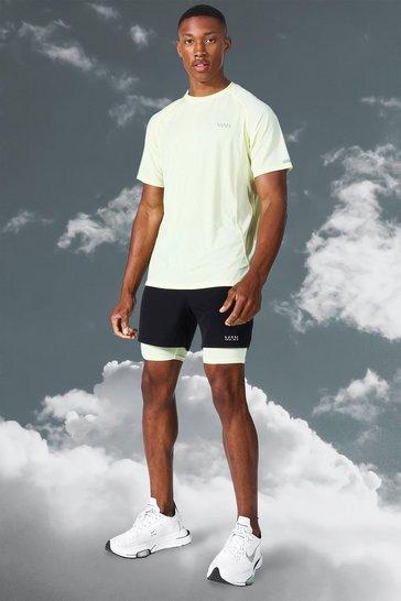 Yellow Man Active Lightweight Contrast Short Set