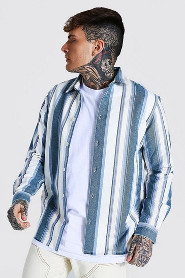 Blue Long Sleeve Stripe Flannel Overshirt