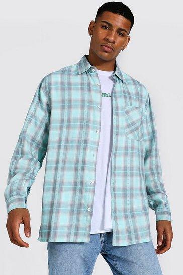 Mint green Oversized Aztec Check Shirt