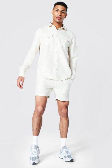 Ecru white Boucle Check Overshirt