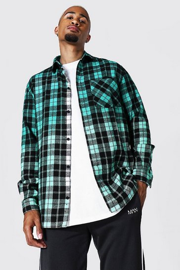 Green Oversized Ombre Check Shirt