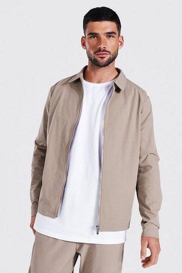 Taupe beige Tailored Zip Harrington Jacket