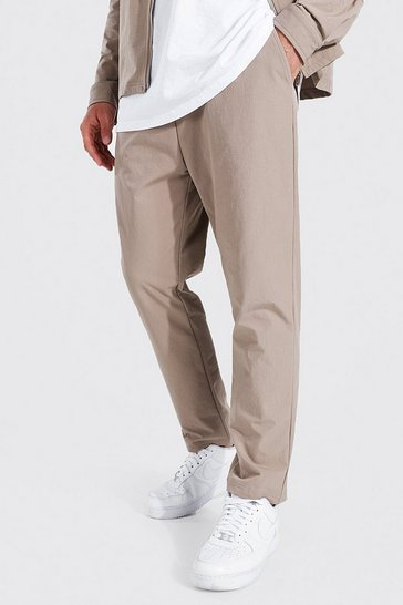 Taupe beige Elasticated Waistband Tapered Trousers
