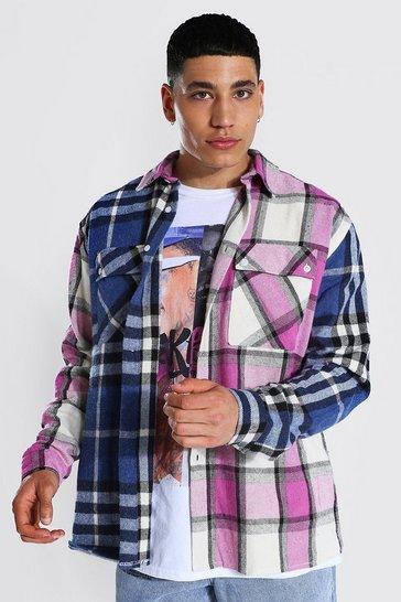 Navy Oversized Spliced Check Shirt