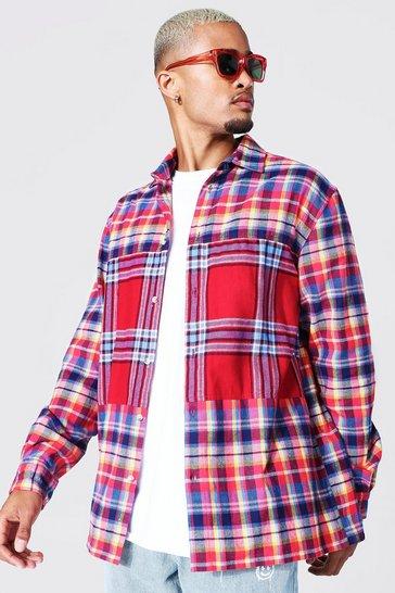 Multi Oversized Spliced Check Shirt