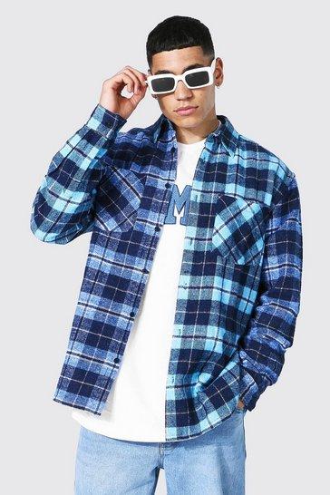 Blue Oversized Spliced Check Shirt