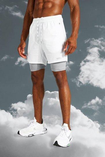 White Man Active Lightweight Contrast 2 In 1 Short