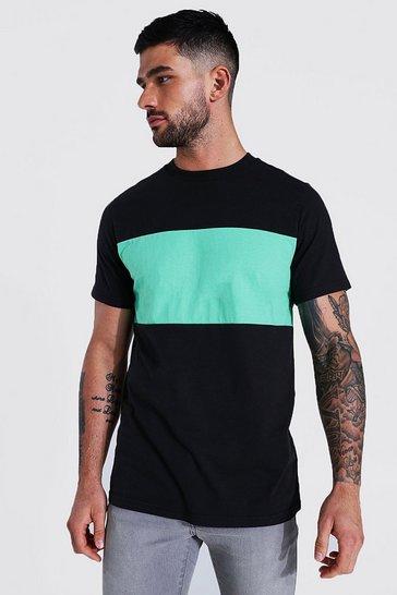 Jade green Slim Fit Colour Block T-shirt