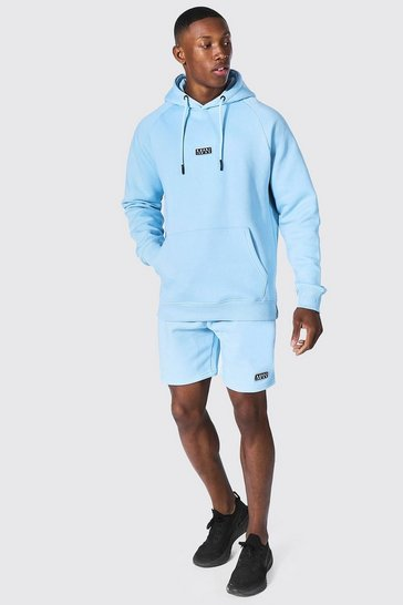 Blue Man Active Training Hoodie And Short Set