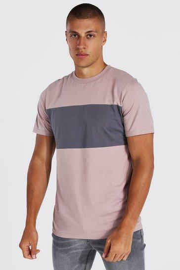 Bark brown Slim Fit Colour Block T-shirt