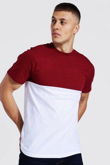 Burgundy red Slim Fit Colour Block T-shirt