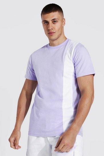 Lilac purple Slim Fit Colour Block T-shirt