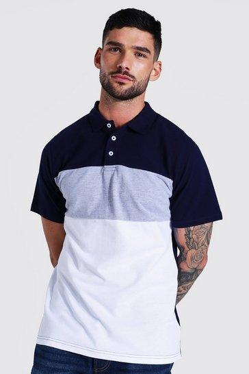 Navy Slim Fit Colour Block Pique Polo